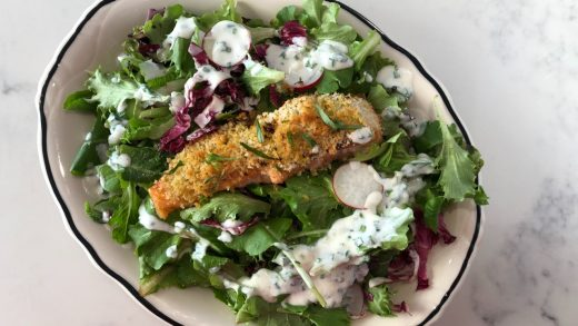 Panko citrus crusted salmon and buttermilk chive salad