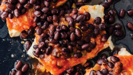 Cod with salsa and black beans