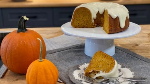 Carrot pumpkin chiffon cake with cream cheese glaze