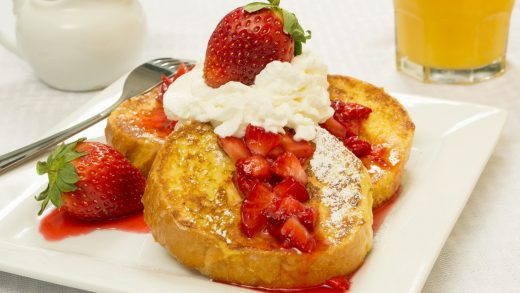 Pound cake French toast with sour cherry sauce