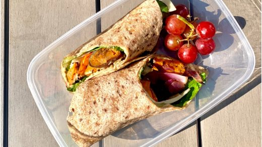 Roasted veggie and hummus wrap