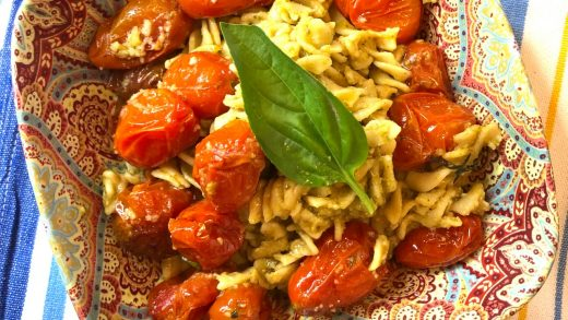 Gluten-free roasted cherry tomato and pesto pasta