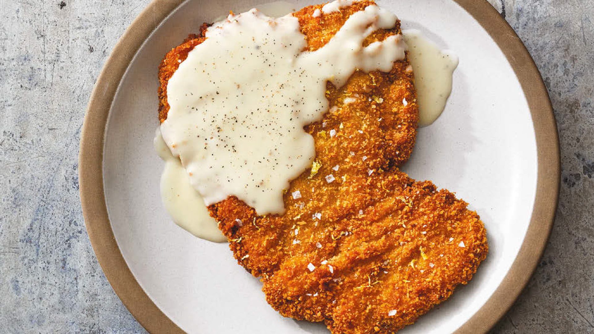 Chicken Fried Steak With Bread Crumbs Milk Lemon Zest And Butter