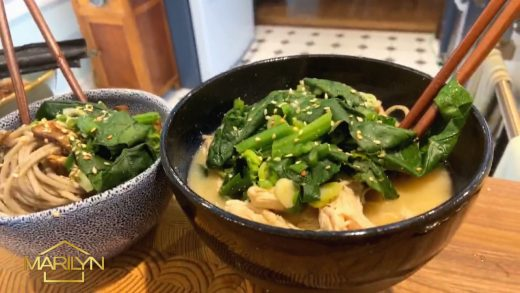 Ginger miso soup with greens and soba noodles