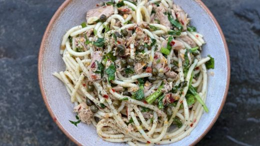 Tuna, lemon and caper pasta