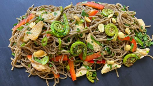 Honey lemon chicken and fiddlehead buckwheat noodle salad