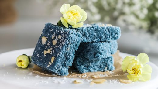 Vegan coconut barfi with blue spirulina