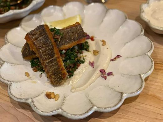 Pan seared sea bass and lentil tabbouleh