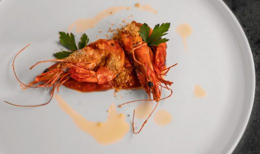 Shrimp flambé with plum brandy