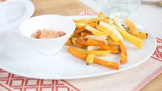 Root vegetable 'fries' with smoky tarragon dip