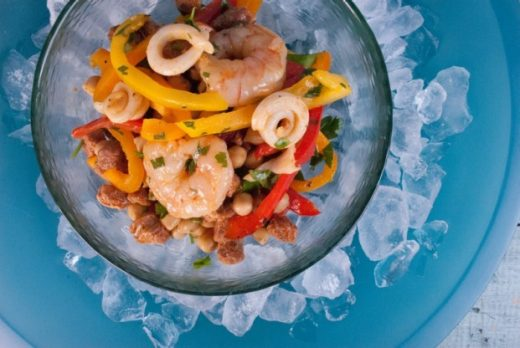 Mixed seafood salad with chorizo and chickpeas