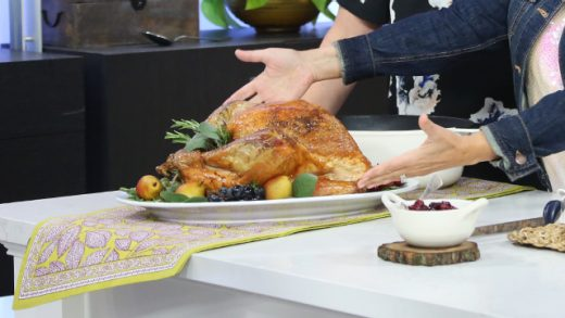 Roasted turkey with rosemary butter, pearl barley stuffing, and cinnamon ginger cranberry sauce