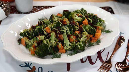 Roasted broccoli and sweet potato salad