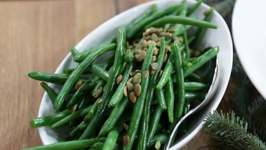 Green beans with toasted pumpkin seeds and brown butter