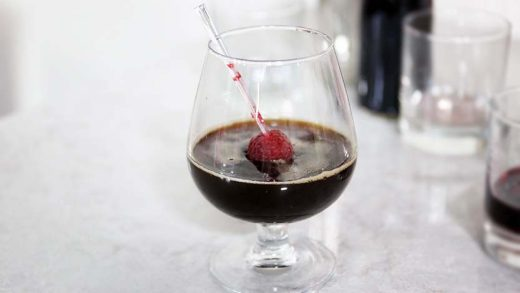 Cassis jelly cocktail with Kahlua espresso syrup