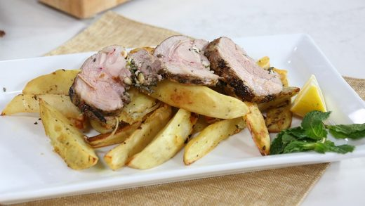 Stuffed leg of lamb with pine nuts, mint and feta
