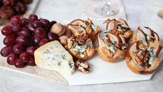 Blue cheese and pear cups