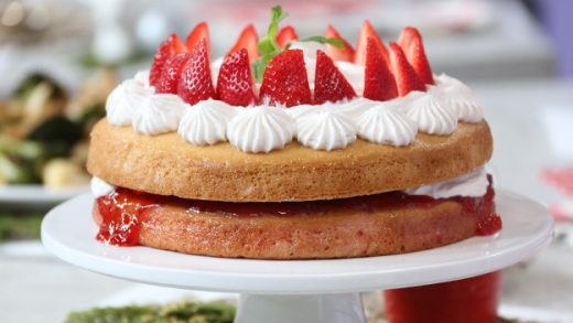 Sponge cake and berries fit for royal tea