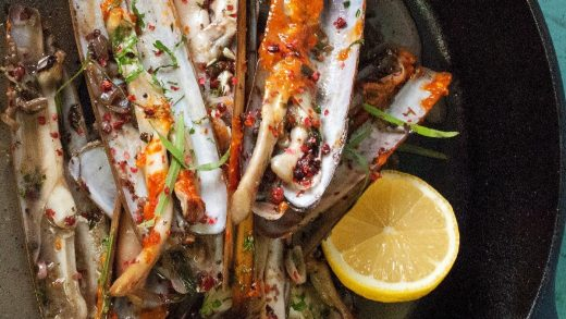 Razor clams with pink pepper and tarragon