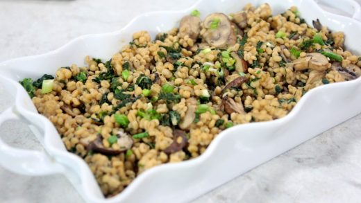 Breakfast barley risotto with sautéed mushrooms and bok choy
