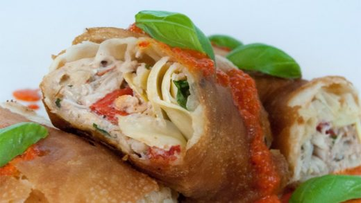 Crab and artichoke strudel with roasted red pepper sauce