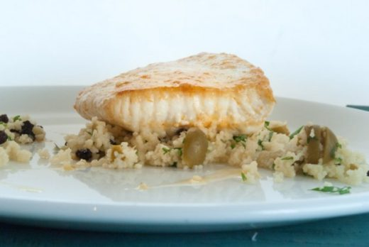 Moroccan butter poached halibut with couscous