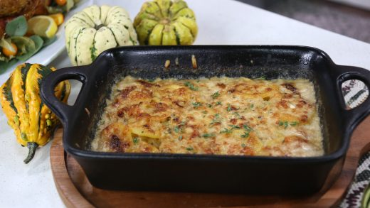 Leek, gruyere and potato gratin