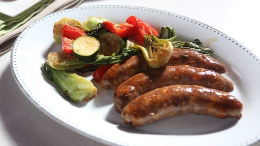 Sticky sweet sausage and vegetable bake