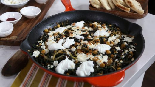 Kale, chickpea and feta bake