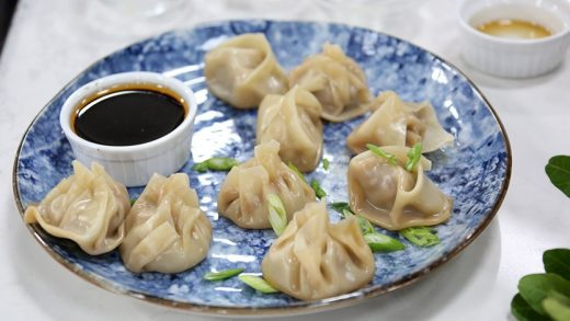 Chinese chicken dumplings with spicy soy