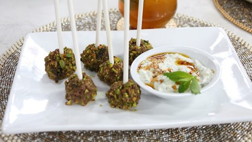 Pistachio lamb lollies with harissa yogurt dip