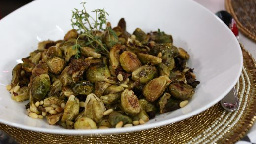 Balsamic cranberry roasted Brussels sprouts