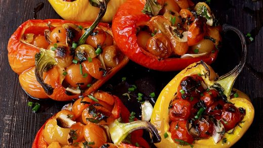 Oven-charred tomato-stuffed peppers