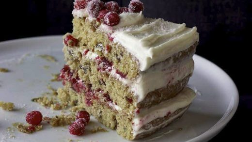 Triple-layer parsnip and cranberry cake