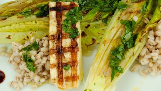Grilled romaine with barley and halloumi