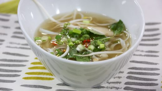 Vietnamese style chicken pho soup