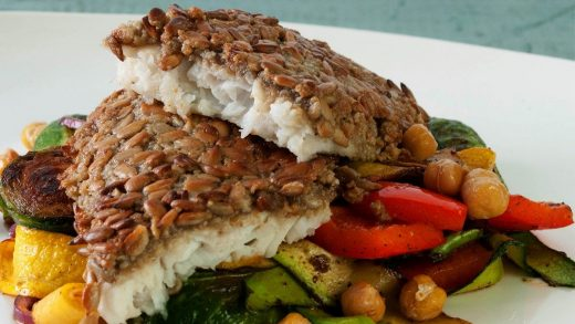 Sunflower seed crusted sole