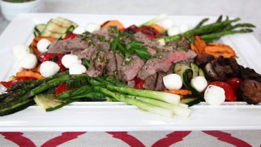 Sous vide carne asada and grilled veggies with chimichurri sauce