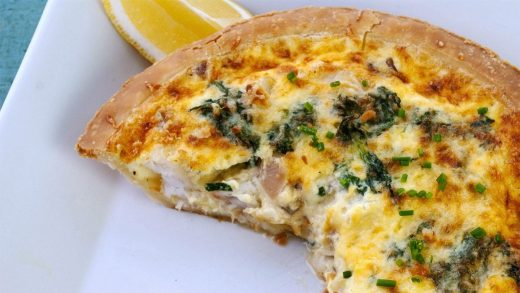 Creamy grouper and spinach tart