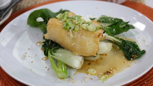 Maple-miso cod with Asian greens