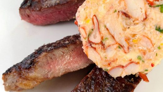 Grilled rib eye steak with lobster butter