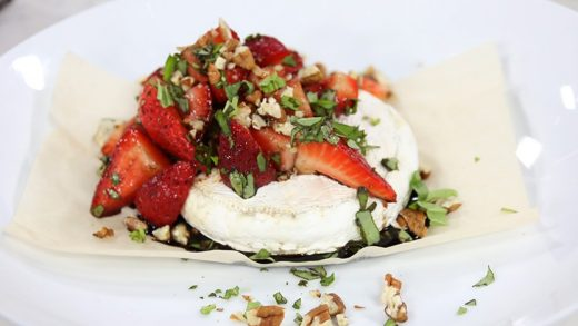 Baked Brie with Balsamic Strawberries, Basil, and Pecans