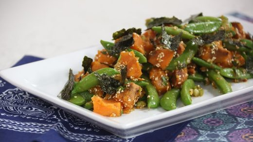 Grilled sweet potato salad with Japanese flavours
