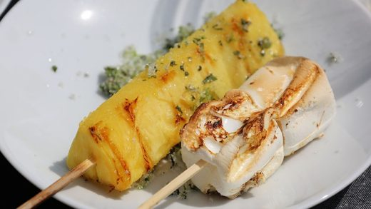Grilled pineapple with lime mint sugar