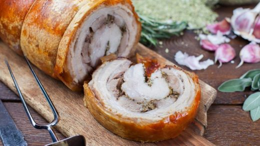Stuffed pork roast with crackling