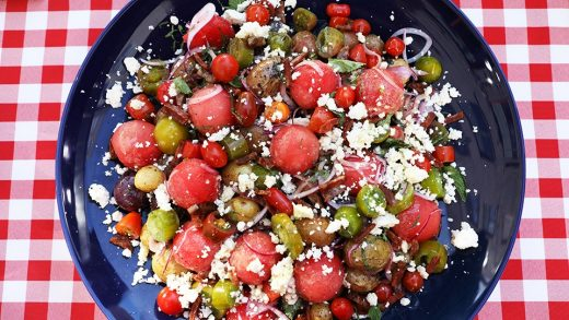 Grilled potato and watermelon salad