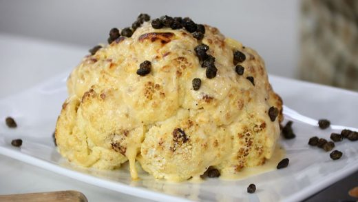 Roast cauliflower with cheese sauce