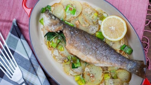 Baked sea bass with potatoes