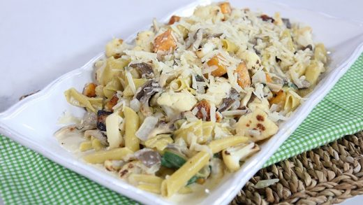 Veggie penne with squash, mushroom, cauliflower and sage cream