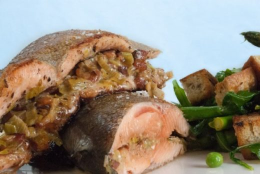 BLT stuffed rainbow trout with panzanella salad